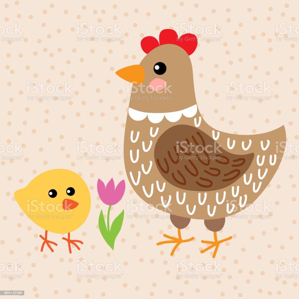 Dessin Animé Poule poulet et poule dessin animé mignon – cliparts vectoriels et plus d