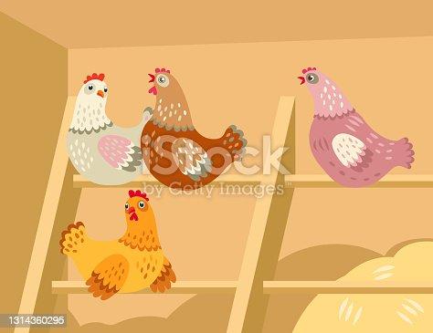 istock Cute cartoon hens in barn 1314360295
