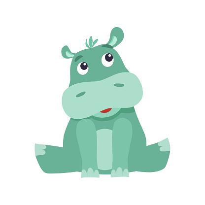 Cute cartoon hippo.
