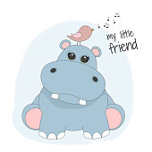 Cute cartoon hippopotamus and bird. My little friend. Animal behemoth flat clipart. Modern poster for prints, kids cards, t-shirts and other.