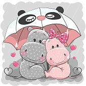 Two Cute Cartoon Hippos with umbrella under the rain
