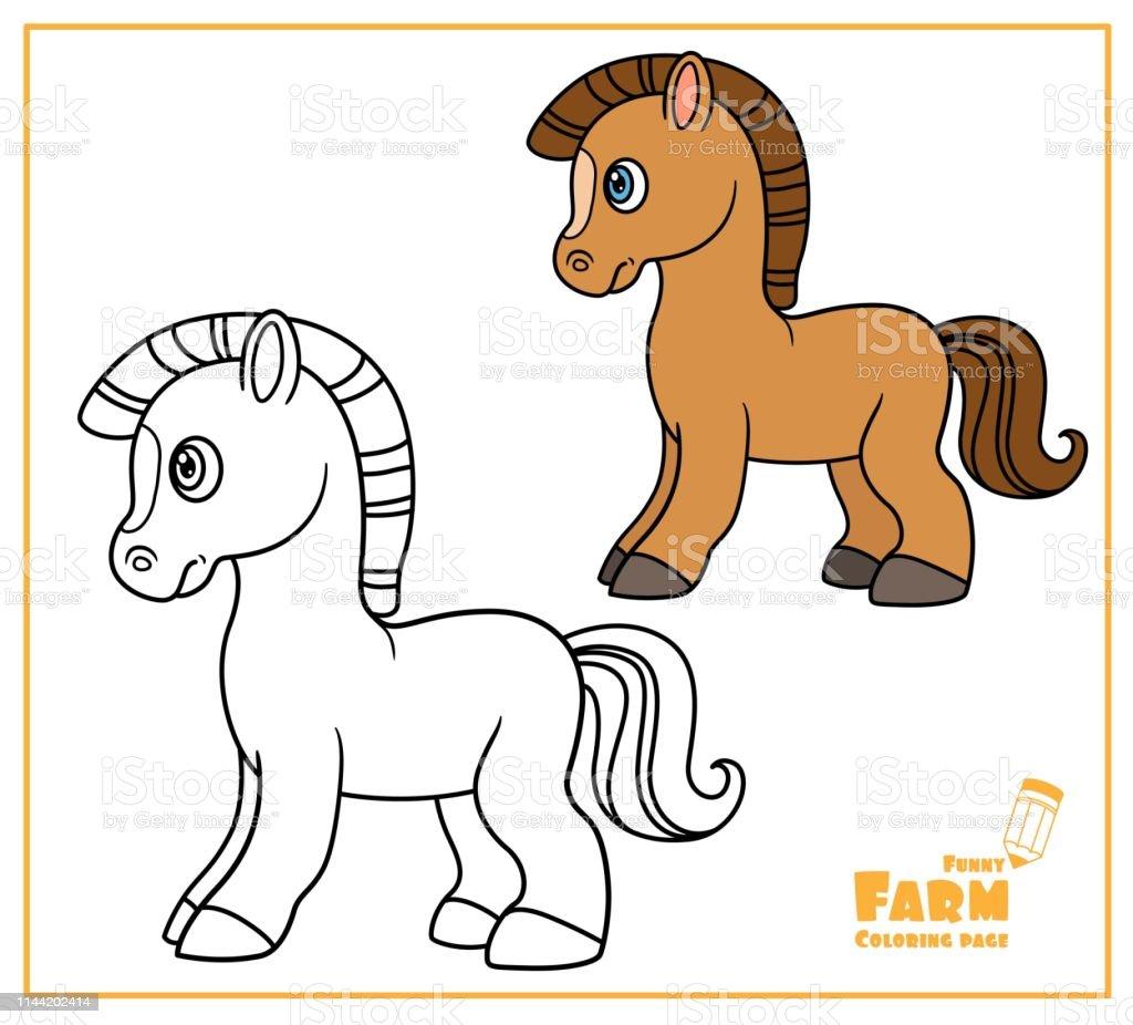 Ilustración De Lindo Color De Caballo De Dibujos Animados Y