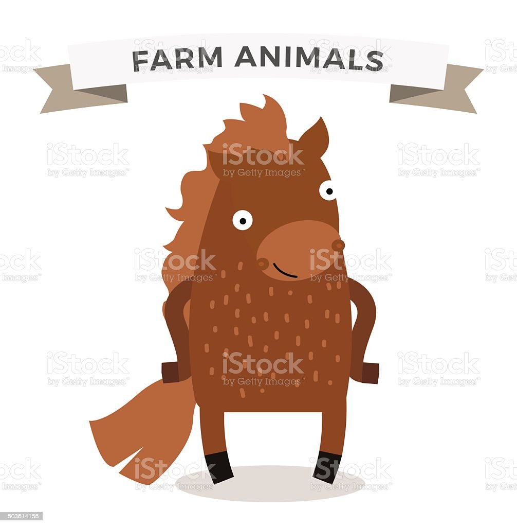 Cute Cartoon Horse Vector Illustration Stock Illustration Download Image Now Istock