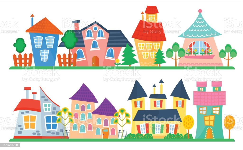 Cute Cartoon Houses Collection Funny Colorful Kid Vector House Set ...