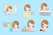 cute cartoon housewife do work on the blue background