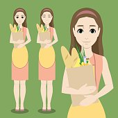 Vector set with cute cartoon housewife holding ecological shopping bag with food: fruits, vegetables, bagels and bottles of milk and juice. Happy smiling woman wearing dress and apron does her housework. Female character with different faces for design.