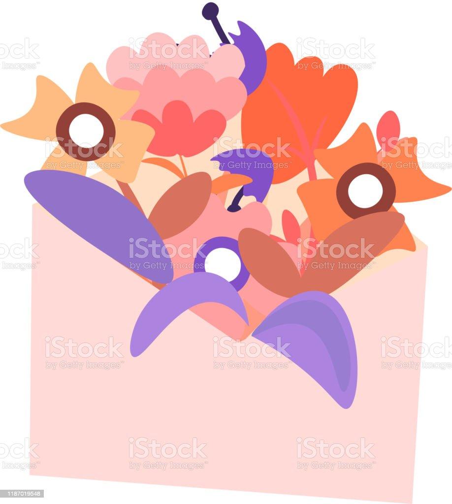 Ilustracion De Bonita Ilustracion De Dibujos Animados De Sobre Con Flores Y Hojas Icono Feminista De La Carta Con Amor O Mensaje De Amistad Icono Para El Dia De San Valentin Boda