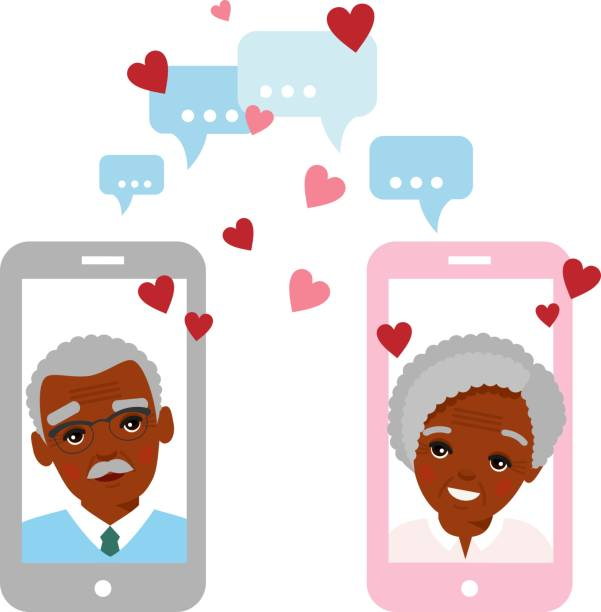 Cute cartoon illustration of old african american people in love using telephone and internet. Vector flat elderly lover concept on the computer screen sent a message of love. Age lovers chat online on the Internet. african american valentine stock illustrations