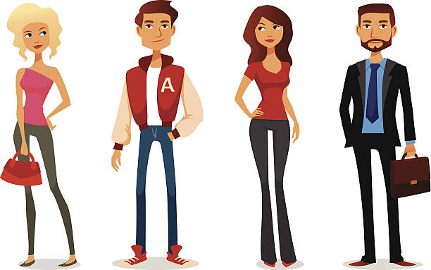 cute cartoon illustration of people in various outfits - preppy fashion stock illustrations, clip art, cartoons, & icons