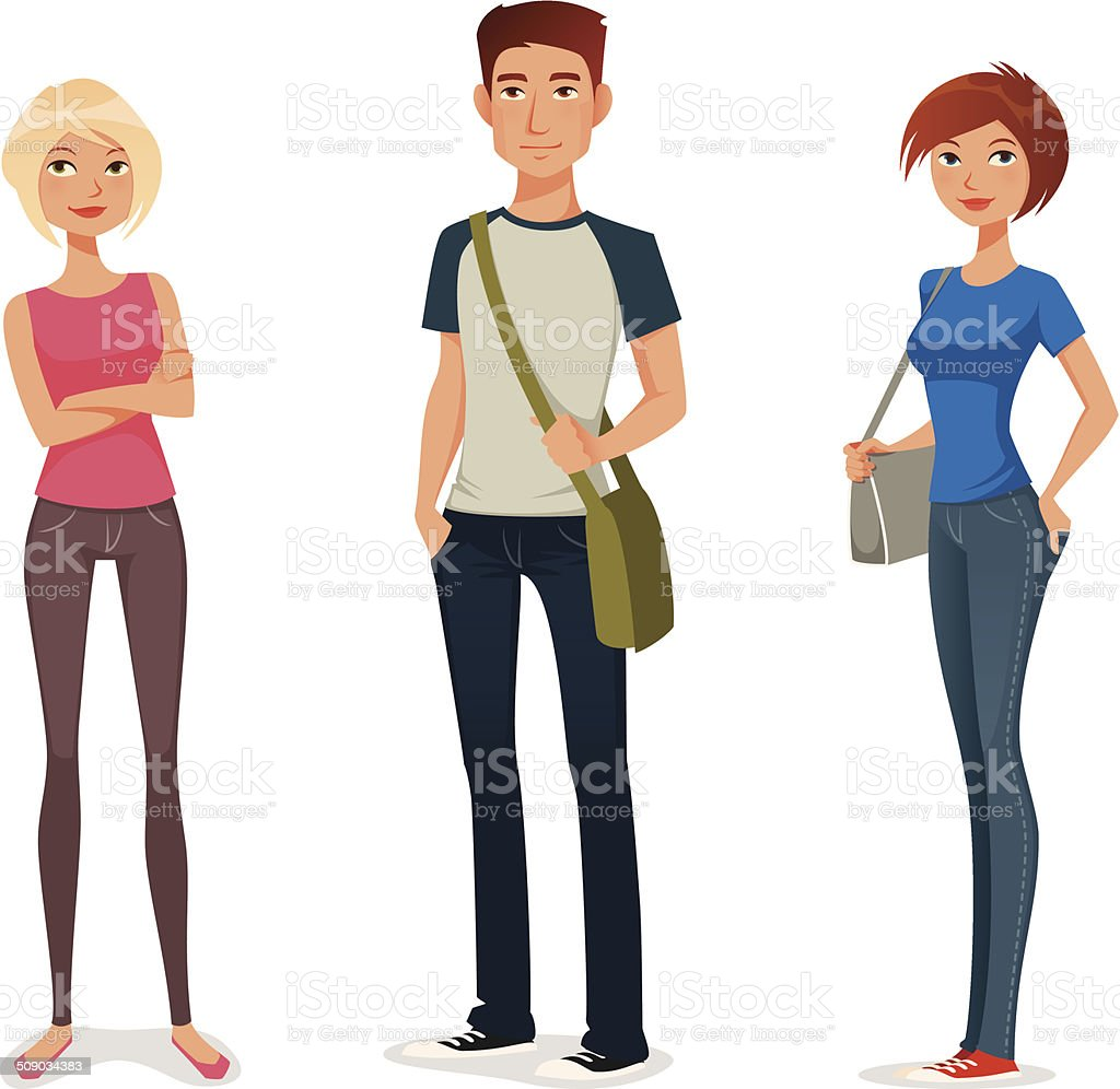 cute cartoon illustration of young people vector art illustration