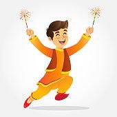 cartoon, india, child, boy, diwali, firecracker, tradition, isolated