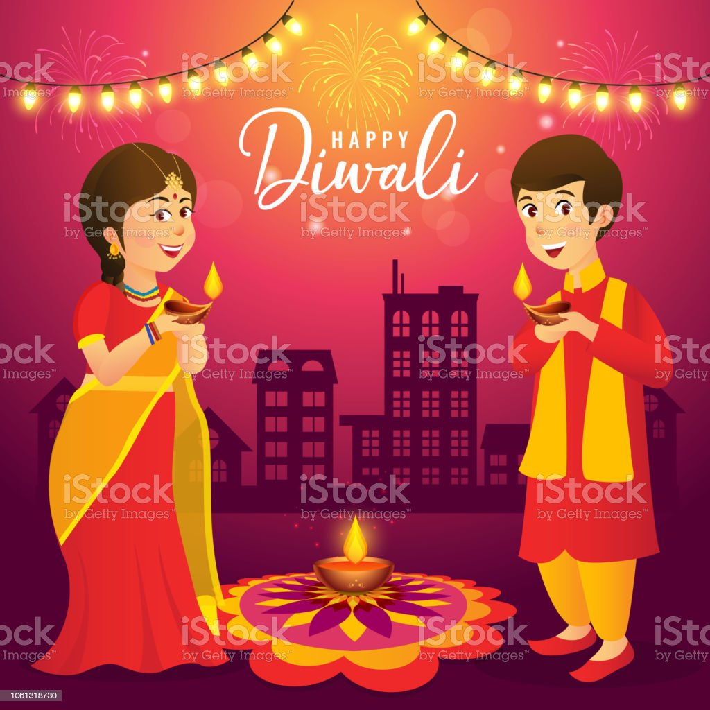 3c43cfa7a1 Cute cartoon indian kids in traditional clothes holding diya (oil lamp) on  urban city