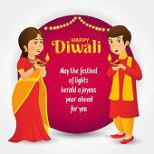 cartoon, cute, diwali, children, india, celebration