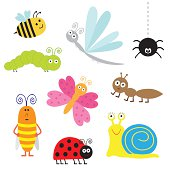 Cute cartoon insect set. Ladybug, dragonfly, butterfly, caterpillar, ant, spider