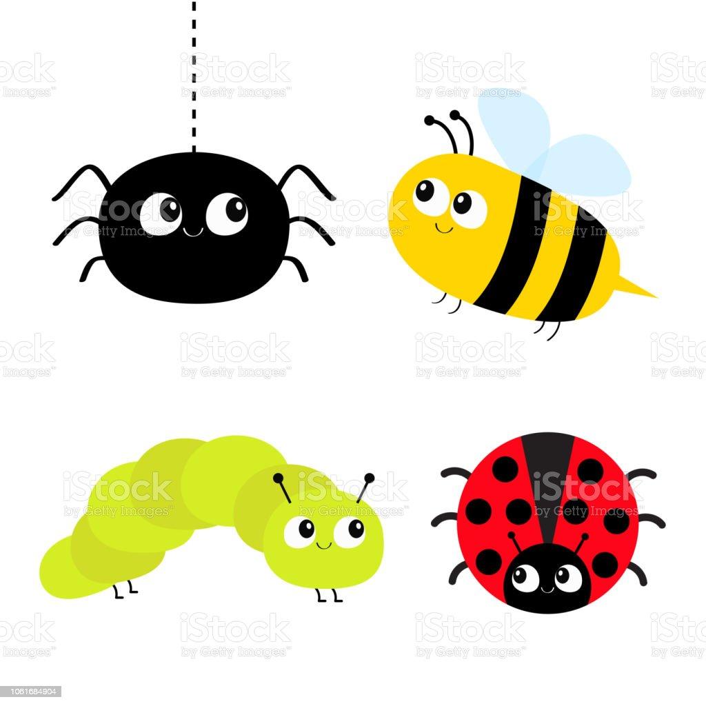 Cute Cartoon Insect Set Ladybug Lady Bird Honeybee Bee Caterpillar