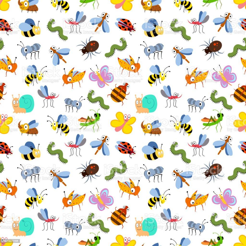Ilustración de Patrones Sin Fisuras De Insectos De Dibujos Animados ...