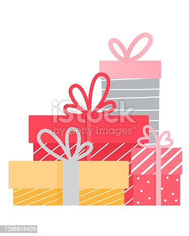 istock Cute cartoon isolated gift box with bows 1295815425