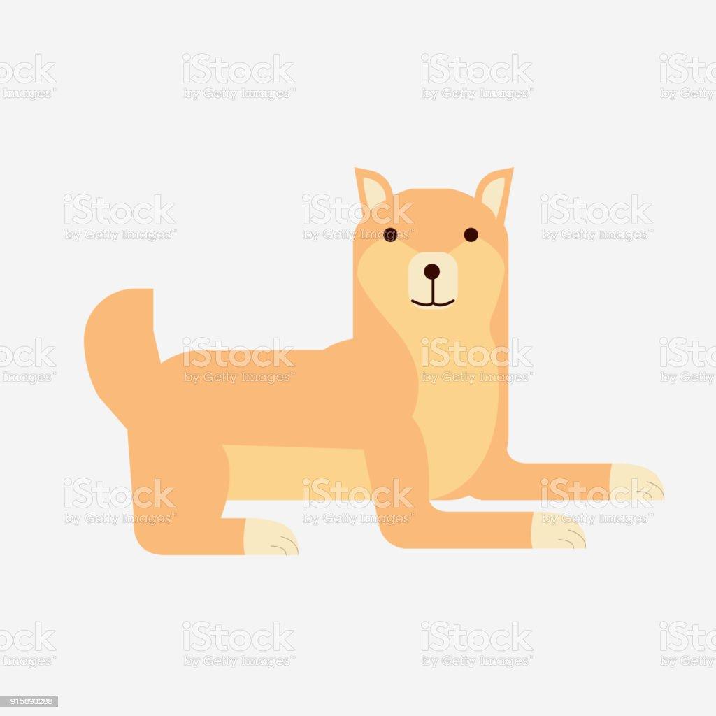 かわいい漫画日本芝犬ベクトル孤立した背景を持つフラット芝犬の肖像画
