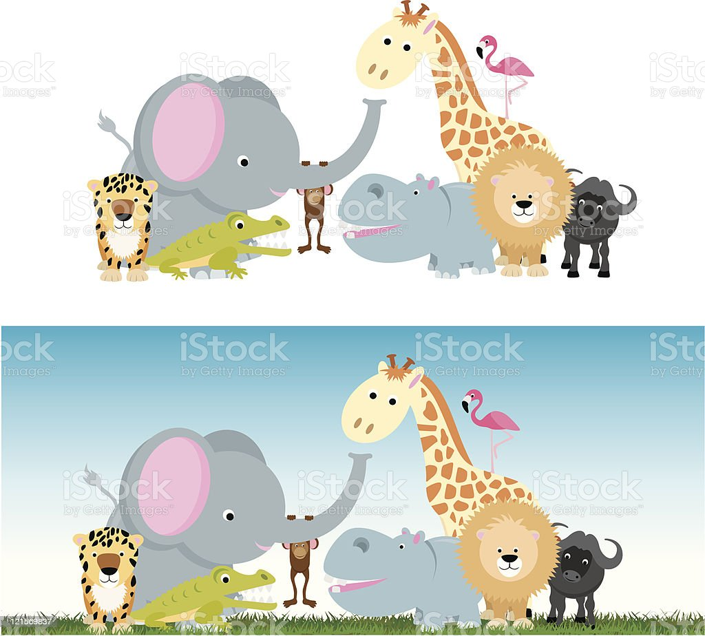 cute cartoon jungle safari animal set royalty-free cute cartoon jungle safari animal set stock vector art & more images of african buffalo