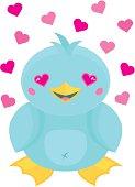 Cute Cartoon Kawaii Style Bird in Love