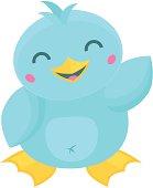 Cute Cartoon Kawaii Style Bird Waving