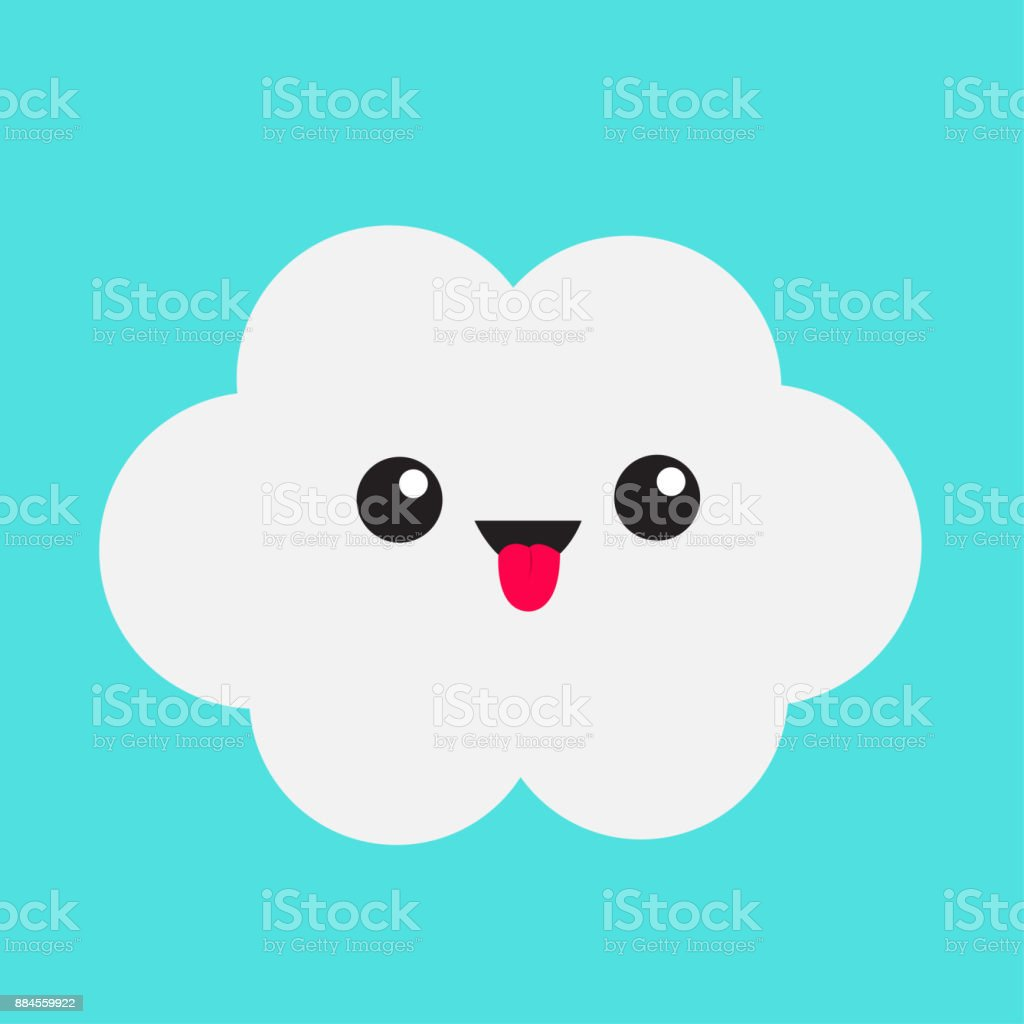 Cute cartoon kawaii white gray cloud. Showing tongue emotion. Eyes and mouth. Isolated. Blue sky background. Baby funny character emoji collection. Flat design. vector art illustration