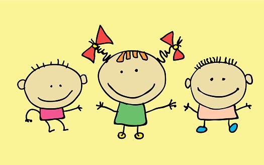 Cute cartoon kids, girl and boy