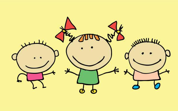 Cute cartoon kids, girl and boy Cute cartoon kids, girl and boy, vector illustration. T-shirt graphic. cartoon character. baby sloth stock illustrations