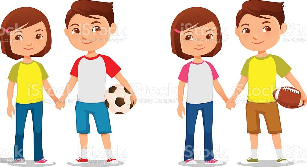 cute cartoon kids holding hands vector art illustration