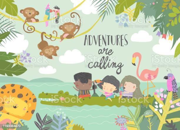 Cute cartoon kids travelling with animals adventures are calling vector id1193354670?b=1&k=6&m=1193354670&s=612x612&h=h4cvikutgdjm cne4n7dyj s8x97uwjksriuh35w53y=