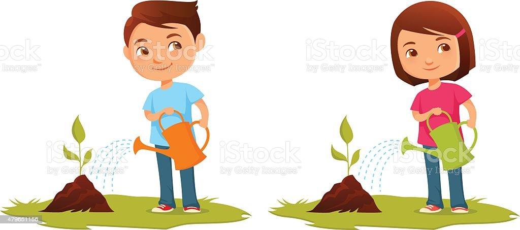 Niedliche Cartoon Kinder Giessen Pflanzen Stock Vektor Art Und Mehr