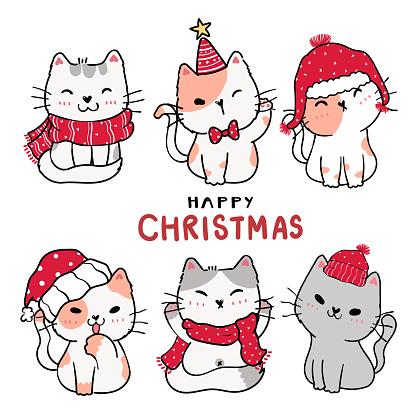 cute cartoon kitten cat set Happy Christmas, flat vector clip art, idea for greeting card, printable, wall art, nursery art