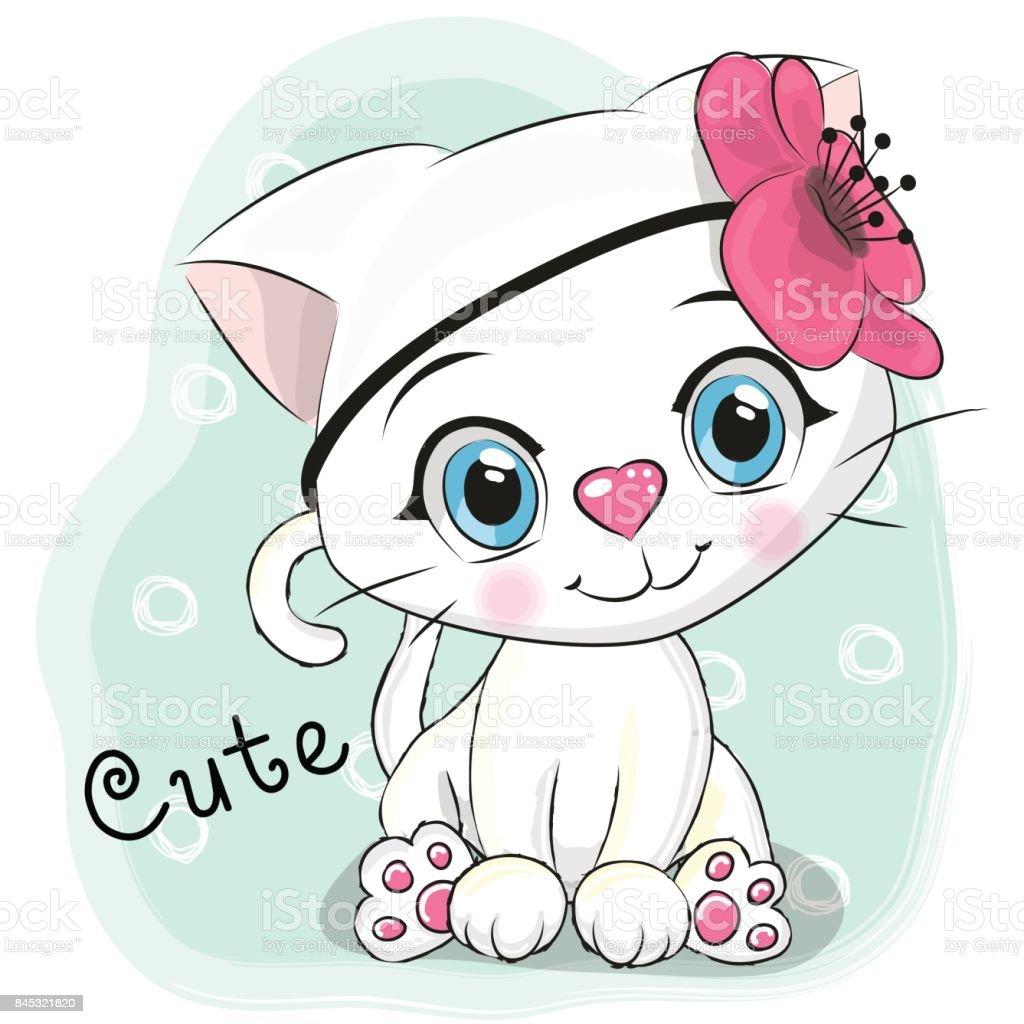 Image of: Clipart Cute Cartoon Kitten On Blue Background Illustration Istock Cute Cartoon Kitten On Blue Background Stock Vector Art More