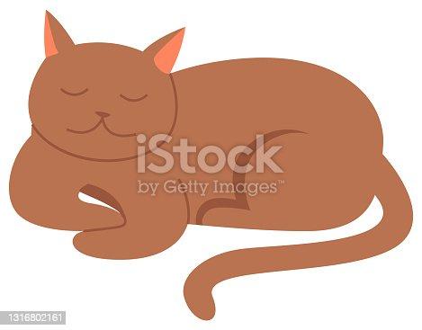 istock Cute cartoon kitty with ginger colored fur lies with closed eyes, nice pet isolated vector on white 1316802161