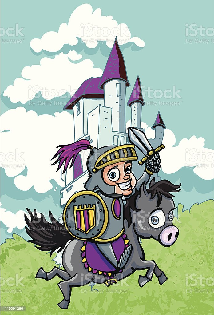 Cute cartoon knight in front of castle royalty-free stock vector art