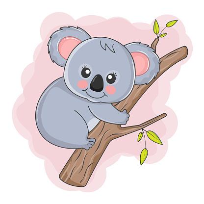 Cute Cartoon Koala baby is sitting on a tree.