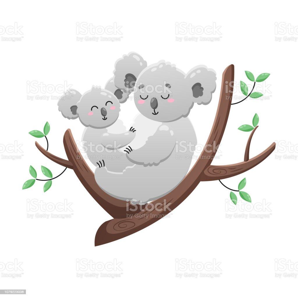 Koala Mignon Dessin Animé Maman Et Bébé Illustration