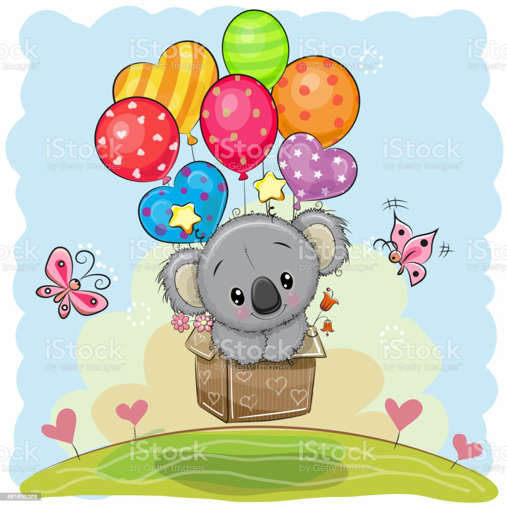 Cute Cartoon Koala with balloons vector art illustration