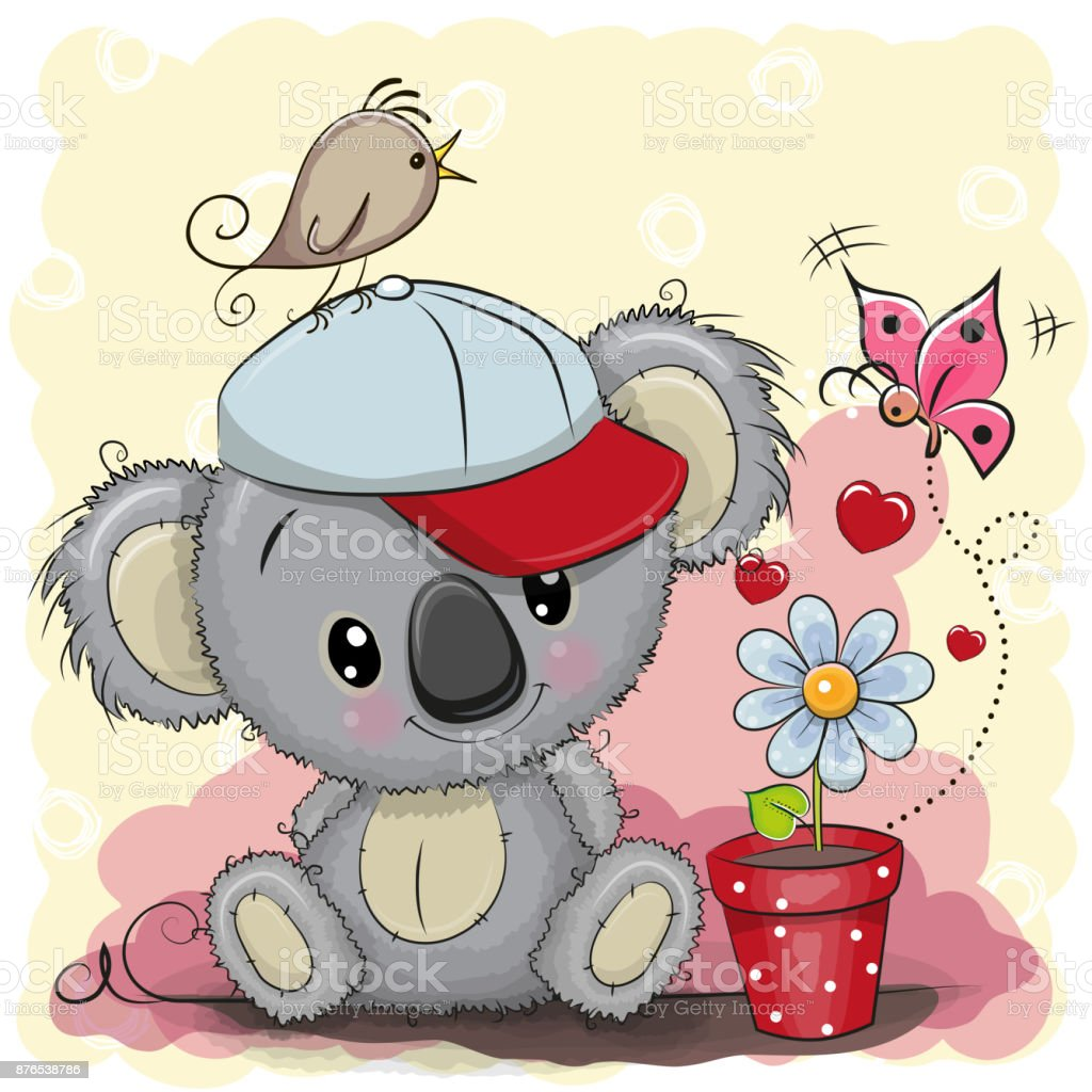 Cute cartoon Koala with flower vector art illustration