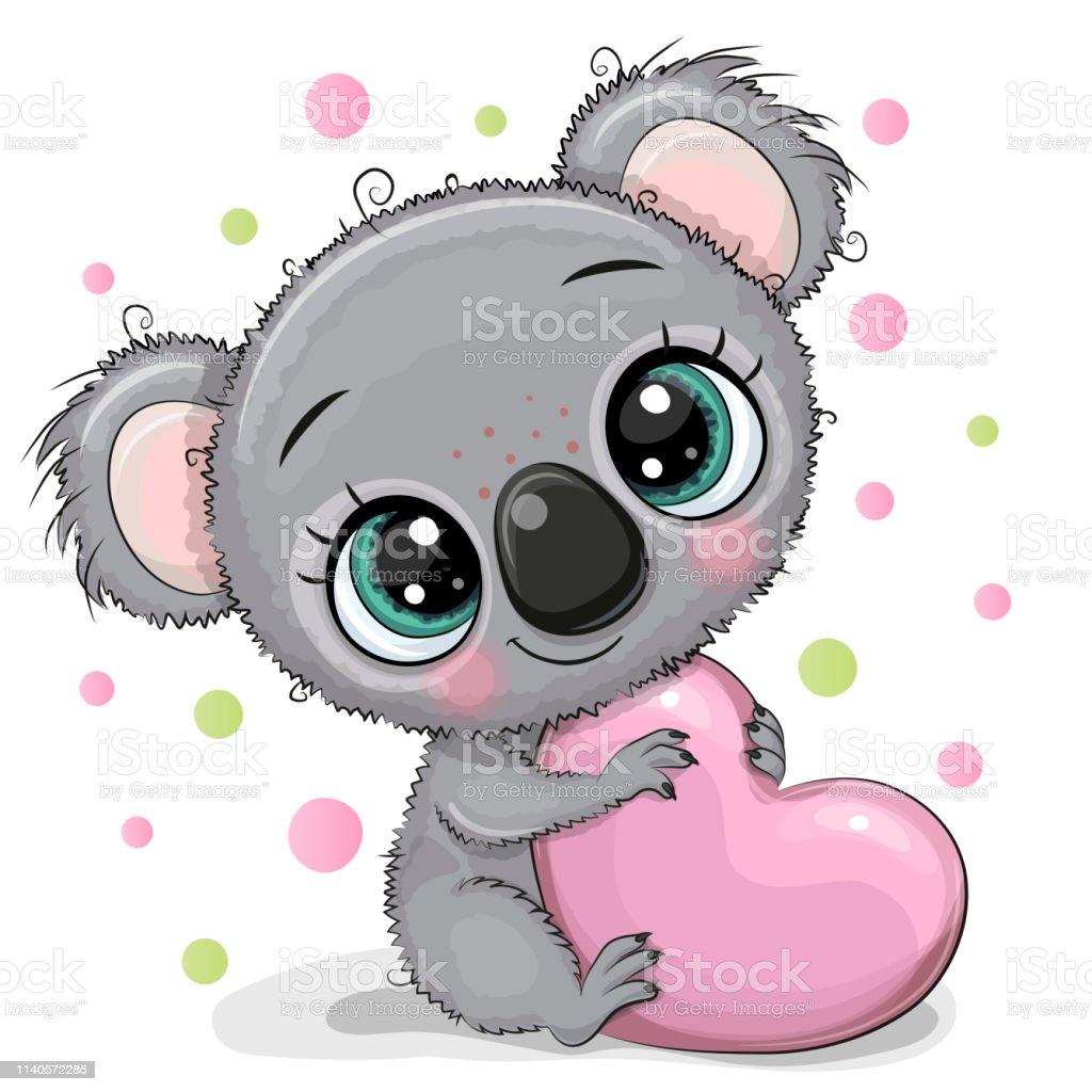 Koala Mignon De Dessin Animé Avec Le Coeur Vecteurs libres ...