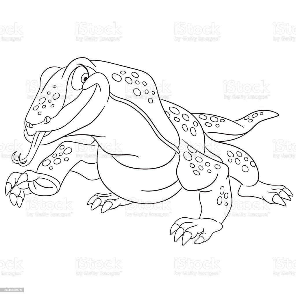 Niedliche Cartoon Komodo Stock Vektor Art Und Mehr Bilder