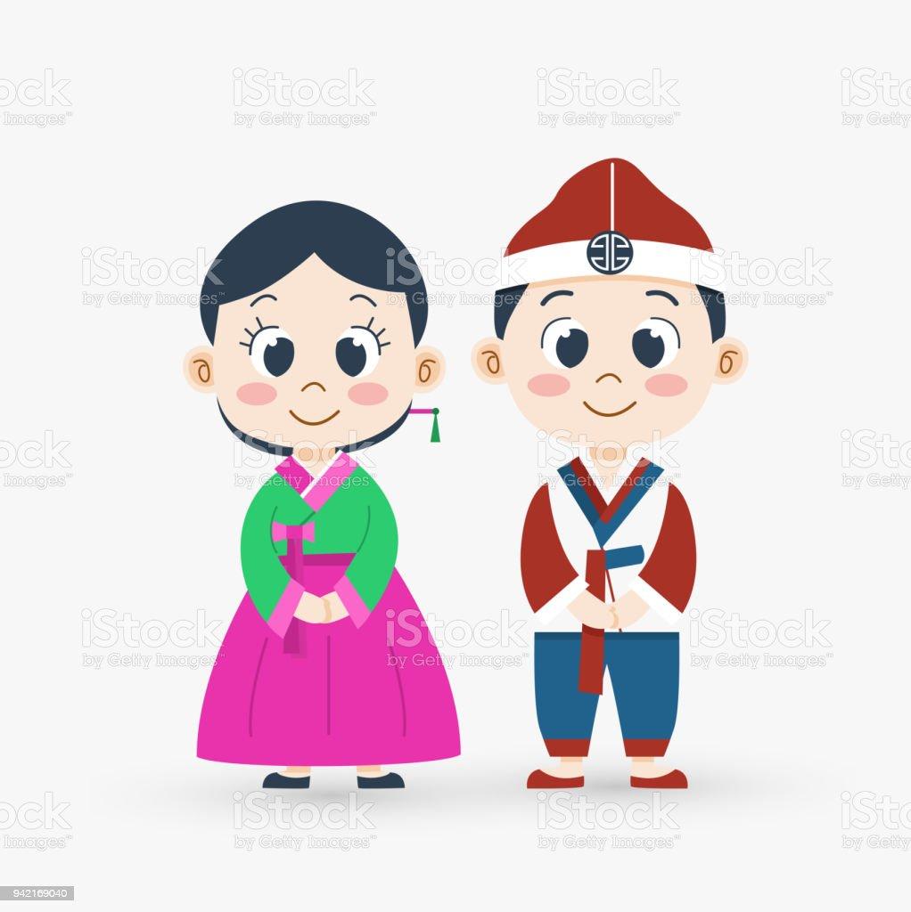 かわいい漫画韓国少年とベクトル図の民族衣装の女の子 2人のベクター