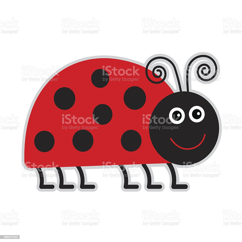 Cute cartoon lady bug. Isolated. vector art illustration