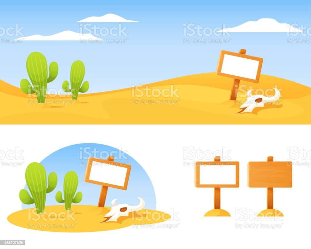 cute cartoon landscape - American desert with cactus, bison skull and blank wooden board vector art illustration