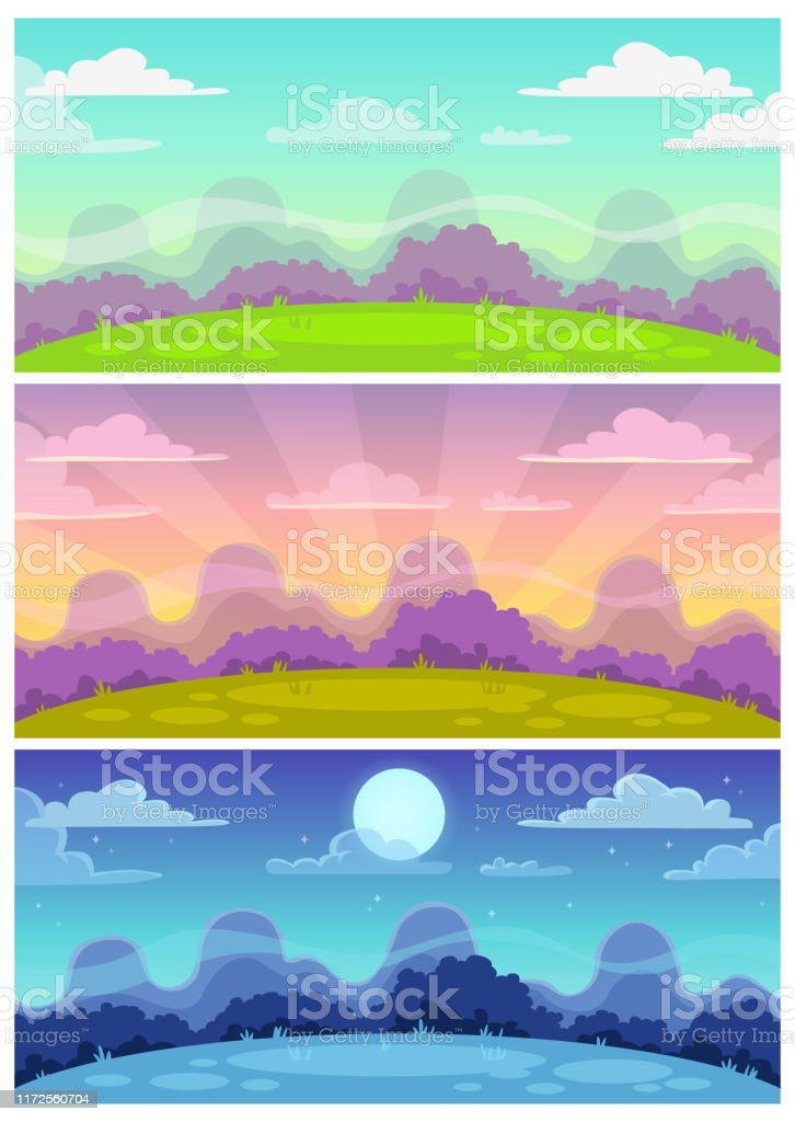 Cute Cartoon Landscapes Set Day Evening Night Nature Background