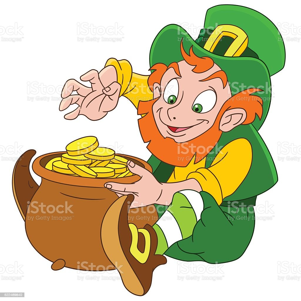cute cartoon leprechaun on st patricks day stock vector art