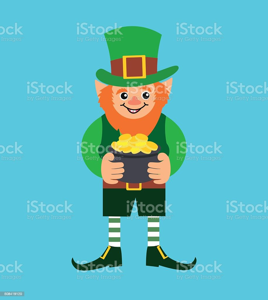 Cute cartoon Leprechaun with pot of gold.