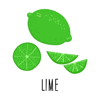 Cute cartoon lime. Lime slices. Drawing for design postcards, print for t-shirts, digital design