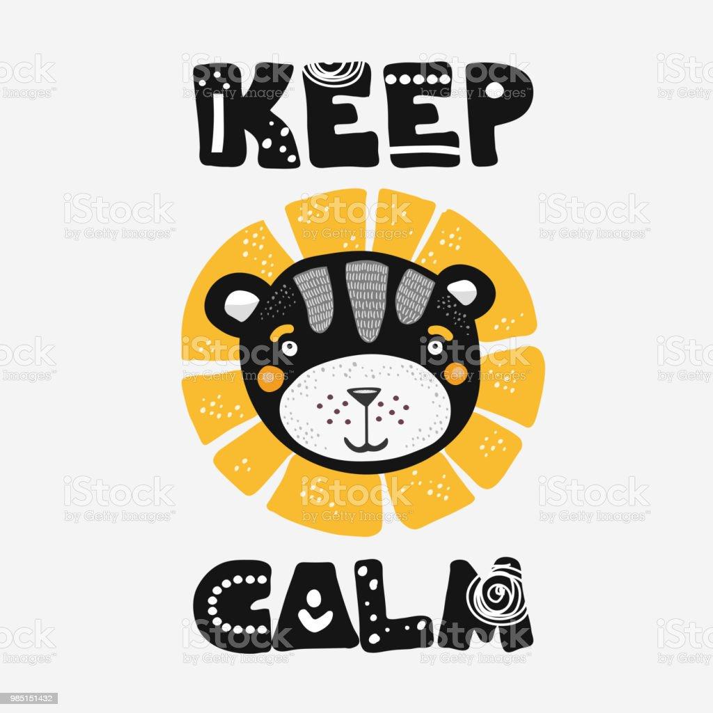 Illustration Du Dessin Anime Mignon Lion Dans Un Style Scandinave Avec Keep Calm Lettrage Design De Tshirt Imprimable Ou Une Affiche Vecteurs Libres De Droits Et Plus D Images Vectorielles De Abstrait
