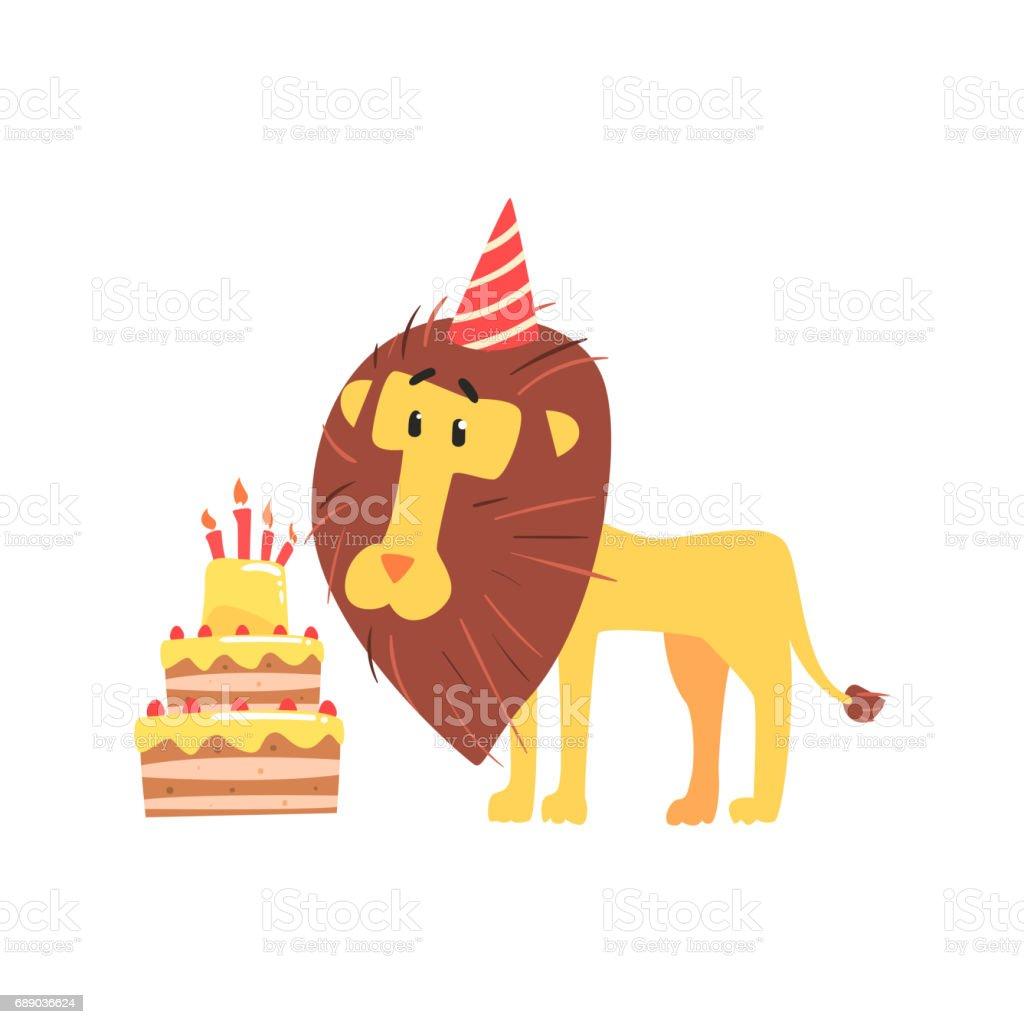 Niedlichen Cartoon Lowe In Einen Partyhut Und Geburtstag Kuchen